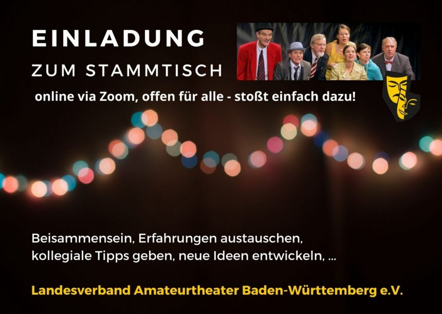 Foto mit Lichterkette und Szenenfoto, Einladung zu LABW-Stammtischen via ZOOM